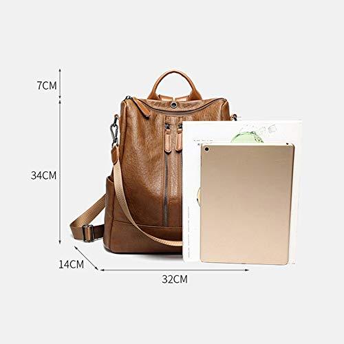College Grande Viaggi A Casual Come Donna Mano Leggeri Moda Zaino In Daypack Backpack Brown 1 Borsa Capacità Tracolla Scuola Pelle 3 Zaino Lnkh E TRwqp61