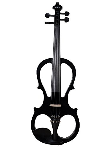 ADM 4/4 Full Size Solid Wood Ebony Parts Electric/Silent Violin Outfit, Black Color by All Days Music