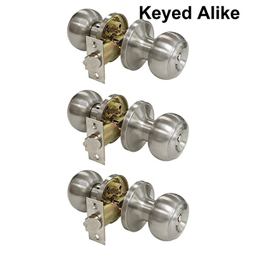 Probrico Brushed Nickel One Keyway Entrance Door Knobs Entry with Key Handles Keyed Alike Door Lockset Pack of 3 (Lockset Nickel)