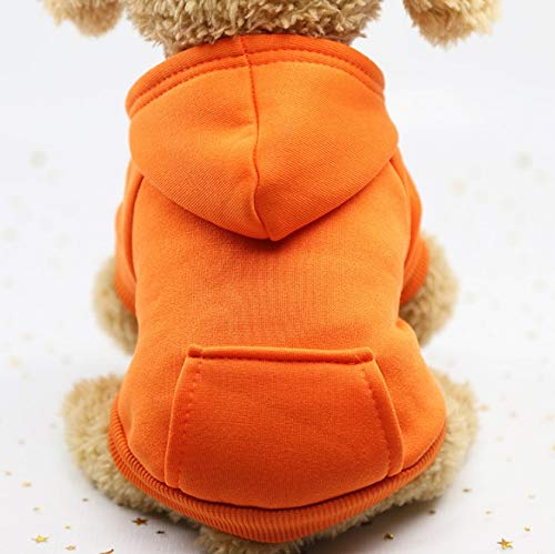 JWl Dogs, Cats pet Clothes, Cute hat and Pockets, Sweaters, pet Fashion Sweatshirts, Sweetheart Clothes, Costumes, Sportswear, Walking Spring, Autumn and Winter (XS,Orange) (Size : L)