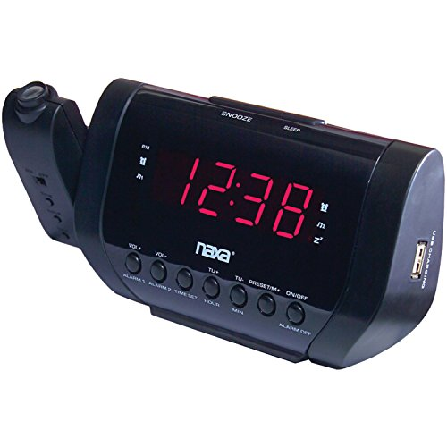 NAXA Electronics NRC-167 Wall-Projection Dual Alarm Clock with Built-In USB Device Charger (Black) (Ipod Kitchen Fm Radio Am)