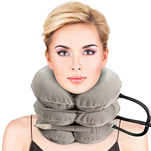 (Premium Cervical Neck Traction Device, FDA Registered, Inflatable, Pillow, Home, Instant Relief -for Chronic Neck and Shoulder Pain Relieving Remedy(Grey))