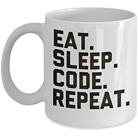 Eat Sleep Code Repeat Unique Coffee Mug Gift For Men And Women 15 Oz