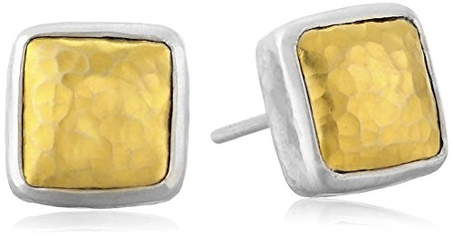 GURHAN Amulet Yellow Gold and Sterling Silver Square Stud Earrings