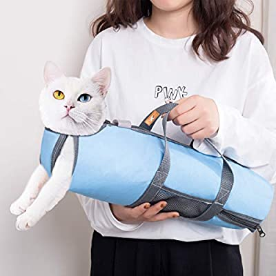wintchuk Cat Grooming Restraint Bag for Nail Trimming Bathing Washing Vet Visits Anti Bite Anti Scratch 4 Sizes(Light…
