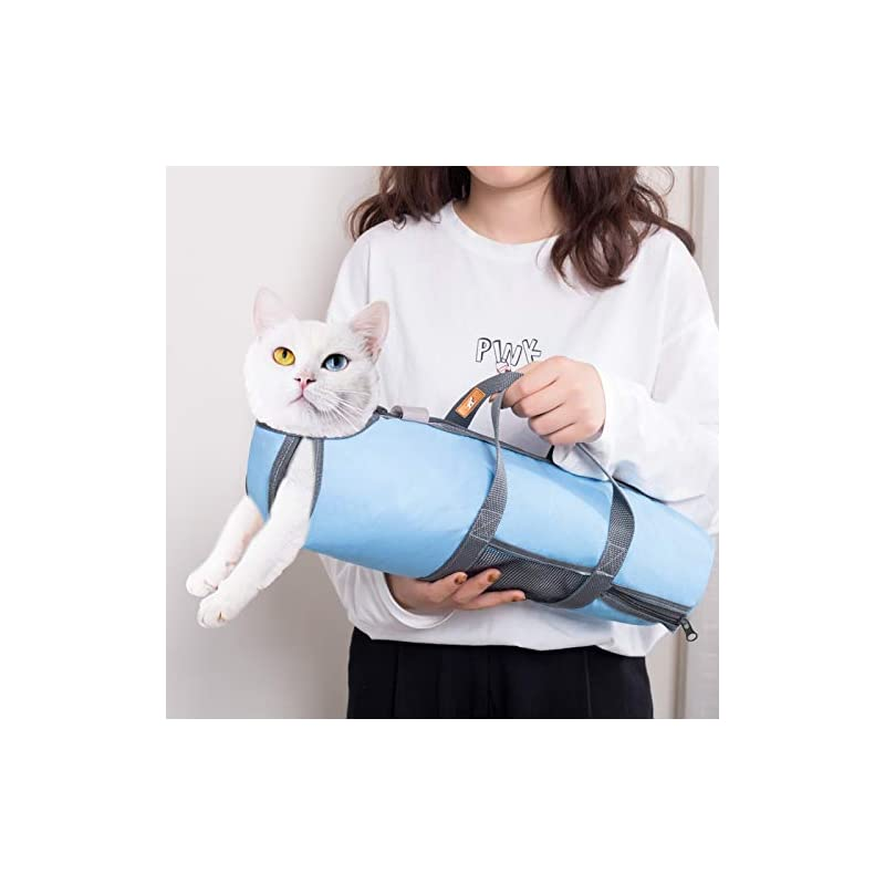 wintchuk Cat Grooming Restraint Bag for Nail Trimming Bathing Washing Vet Visits Anti Bite Anti Scratch 4 Sizes(Light Blue/Grey)