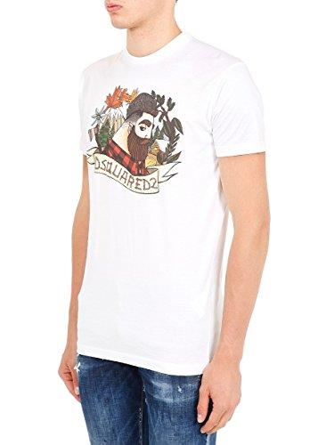 Dsquared2 Herren S74GD0310S22427100 Weiss Baumwolle T-Shirt