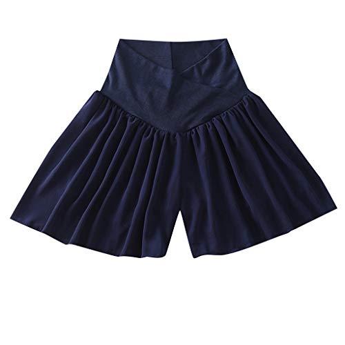 Women Maternity Skirt with Boyshort Casual Low Waist Pants Short Skirt Blue