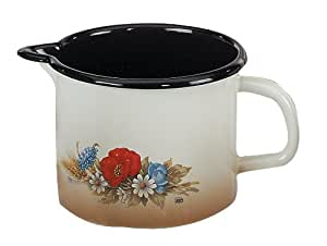 Elo 19814 Kornblume - Jarra para calentar leche (14 cm, esmaltado), diseño de flores, color blanco