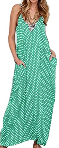 Green Neck Printed Dress Womens Swing V Deep Cromoncent Pleated Sleeveless Loose Maxi 8wqPxAA7aZ