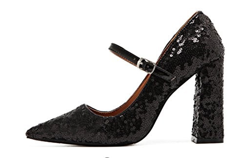 Retro Primavera Donna YCMDM'S e l'estate nuova Tip Perline bocca superficiale alti calza i pattini di modo Sandali Stivali singoli , black , 37