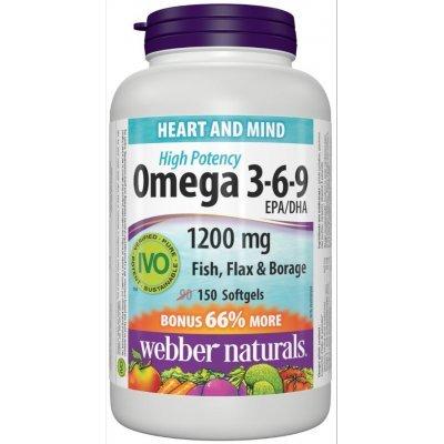 Webber Naturals Omega 3-6-9 Flaxseed, Fish & Borage Oils 1200 mg, 150 softgels Bonus Size