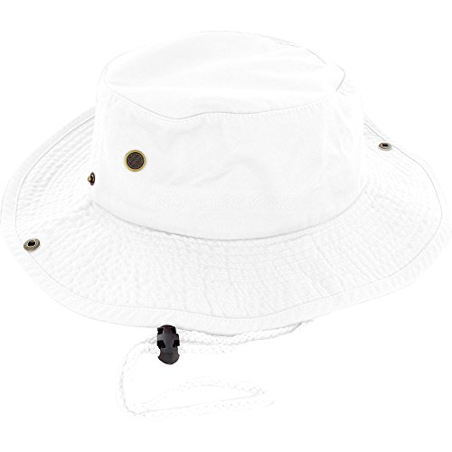 - 100% Cotton Boonie Fishing Bucket Hat with String, White, Large/X-Large