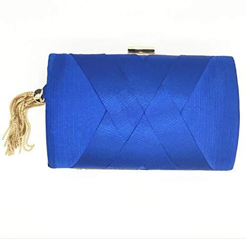 (Woman Bag Luxury Handbags Women New Handmade Tassel Pendant High-volume High-end Silk Clutch Bag Small Purse Day Evening Bag,Sapphire)
