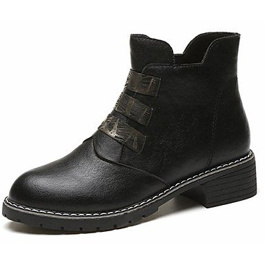 RTRY Zapatos De Mujer Otoño Pu Botas De Combate Botas De Tacón Bloque Ronda Toe Sequin For Casual Negro Us8.5 / Ue39 / Uk6.5 / Cn40 US5.5 / EU36 / UK3.5 / CN35