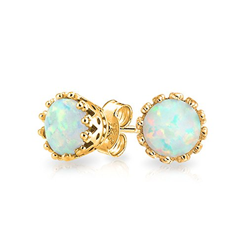 Bling Jewelry Gold Plated Synthetic White Opal October Birthstone Stud Earrings
