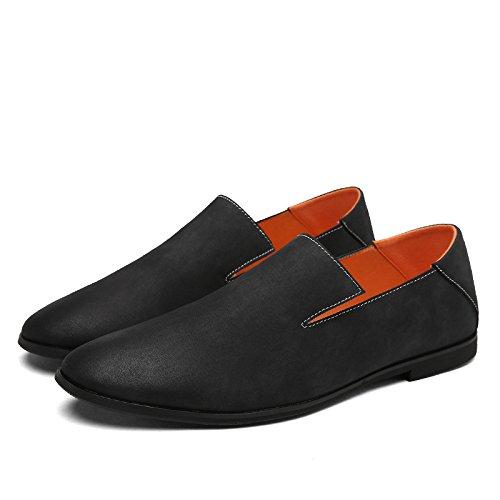Hiver zmlsc Hommes Sports Pointu Cuir Chaussures Automne Couleur Casual Arrondi Doux Black Printemps Bande Business Été pq4BFU7wp