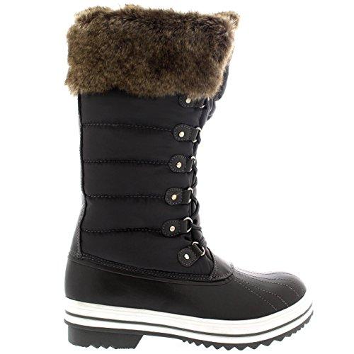 Womens Nylon Warm Side Zip Ente Muck Lace Up Regen Winter Schneeschuhe Grau