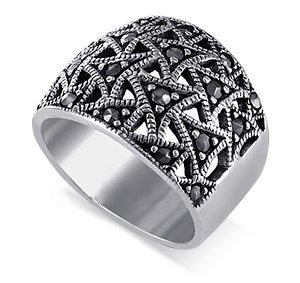 Gem Avenue 925 Sterling Silver Marcasite Filigree Flying Triangle Ring (Marcasite Band Filigree Ring)