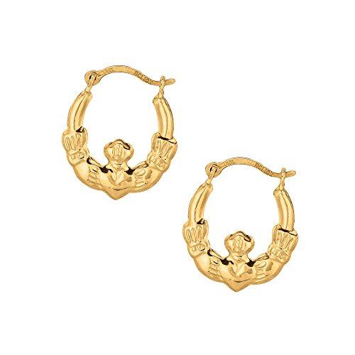 Ritastephens 10k Yellow Gold Claddagh Hoop Tubular Earrings 15 Mm Small