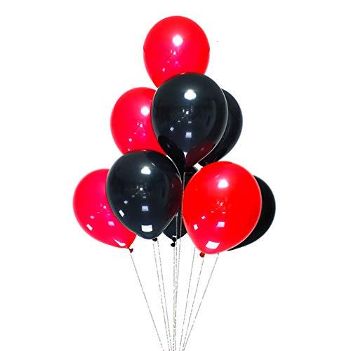 AZOWA Black and Red Latex Balloons 12 inch