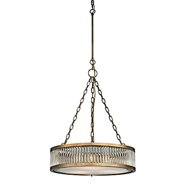 Elk Lighting 46125/3 Linden Collection 3 Light Pendant, Aged Brass