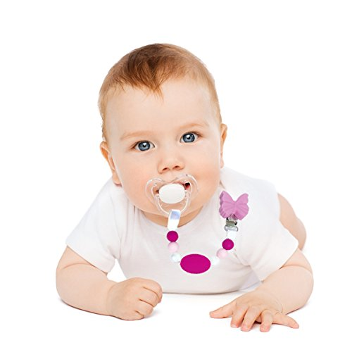 Lilac Butterfly Petite Creations CP093 Silicone Pacifier Holder