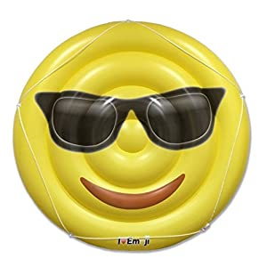 Emoji Swimming Pool Float | Sunglasses Emoticon | Huge 60 Inch Raft | Cool For Pool Parties