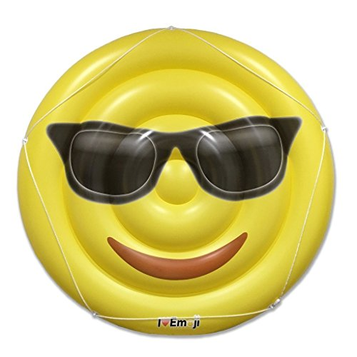 Emoji Swimming Pool Float | Sunglasses Emoticon | Huge 60 Inch Raft | Cool For Pool - Huge Nerd Glasses