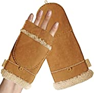 Fingerless mittens for women-Convertible faux fur sherpa & leather mittens with flip top, extra warm for c