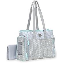 Carter's Fashion Twin Print Tote Diaper Bag, Grey