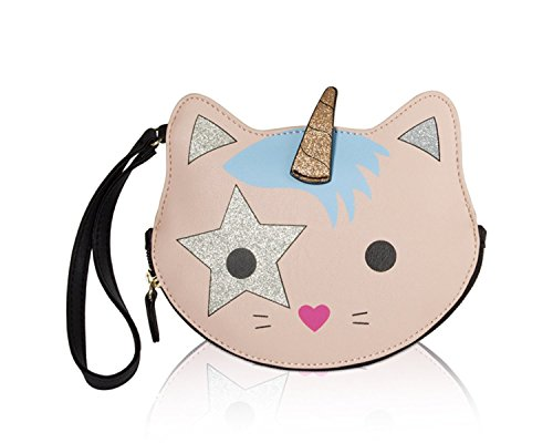 Luv Betsey Johnson Unicorn Kitten Cat Wristlet Coin Purse Pouch - Pink Multi