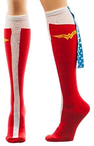 Wonder Woman Caped Boot Knee High Socks, sock size 9–11, fits shoe size 5-10