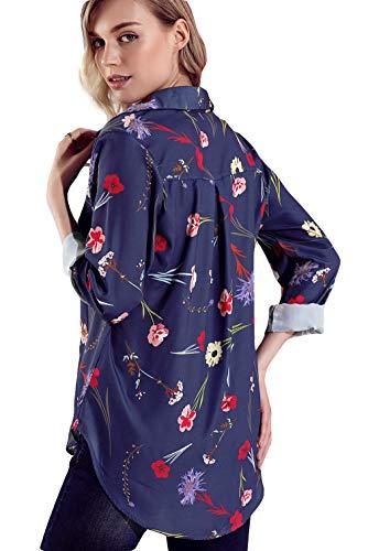 Imprim Business Floral Manche Bouton Chemise Marine Casual Col Longue Lukis Travail Polo Femme XwAqU6axS