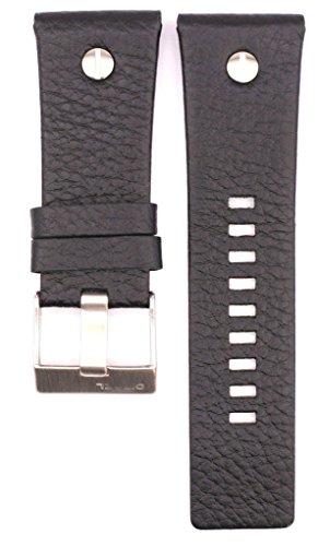 28mm Leather Suitable For DZ7311 DZ7323 DZ7250 DZ7322 Watches Band Strap (black) (Diesel Leather Strap Watch)