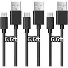 Micro USB Charger Cable for Samsung Galaxy S6, Kehon [3 Pack 6.6 FT] Extra Long Universal Micro USB Charger, High Speed Sync&Charge Cord Wire for Android(Black)