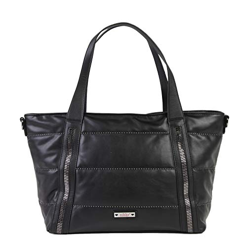 Nikky Top Handle Quilted Black Spacious Women's Tote Bag Travel Shoulder, One Size