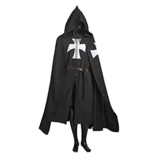 Adult Halloween Medieval Costume Robe Knights Templar Costume Cloak Hospitaller Tunic Cloak Cape with Maltese Cross ,Small
