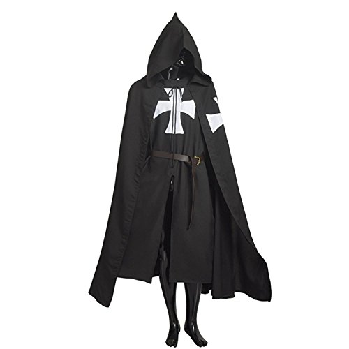 Black Knight Halloween Costume (Adult Halloween Medieval Costume Robe Knights Templar Costume Cloak Hospitaller Tunic Cloak Cape with Maltese Cross ,Small)