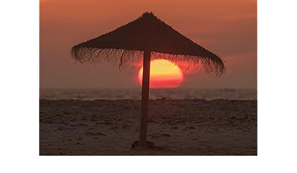 65a21508ac Amazon.com: Silhouette of a beach umbrella on the beach with a ...