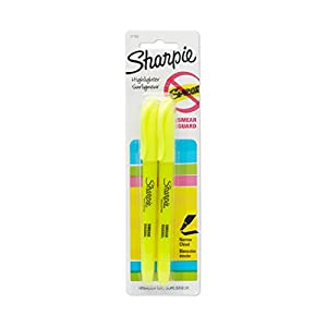 Sharpie Accent Pocket-Style Highlighters, 2 Fluorescent Yellow Highlighters (27162PP)