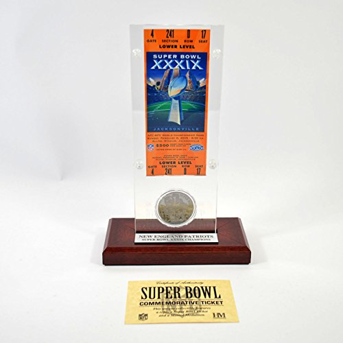 Highland Mint Super Bowl XXXIX Replica Ticket with Bronze Coin (Super Bowl Bronze Coin)