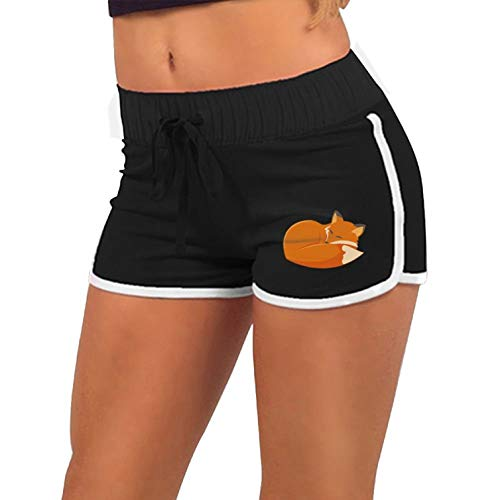 (Women Fashion Sports Yoga Shorts Women Fox Animal Running Active Hot Pants Pants with Athletic Elastic Waist Black 1X)