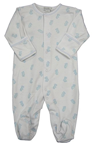 kissy-kissy-baby-boys-infant-tiny-teddy-print-footie-white-with-blue-0-3-months