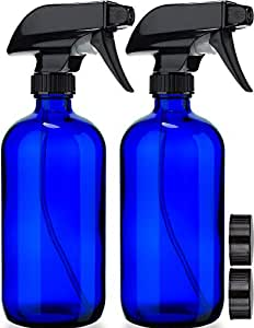 Empty Blue Glass Spray Bottles (2 Pack) - BPA Free, Lead Free - Large 16 oz Refillable Bottle for Plants, Pets, Essential Oils, Cleaning Products - Black Trigger Sprayer w/Mist and Stream Settings