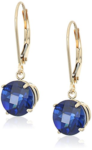 10k Yellow Gold Round Checkerboard Cut Created Blue Sapphire Leverback Earrings (8mm)