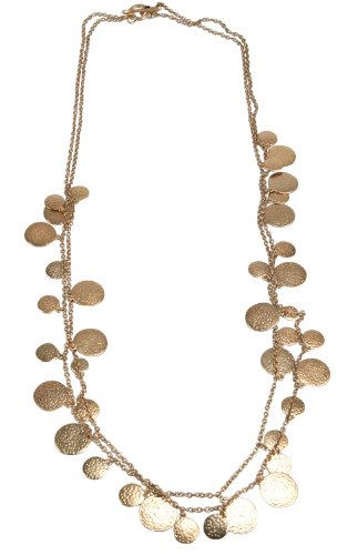 Maxine Denker MD6004NE 30-Inch Gold-Tone Hammered Disc Chain Necklace - Gold Tone Hammered Disc