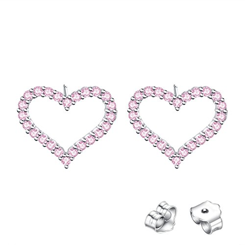 - VALLE Heart Earrings for Women Studs Earring with Pink Crystals Mothers' Day Gifts