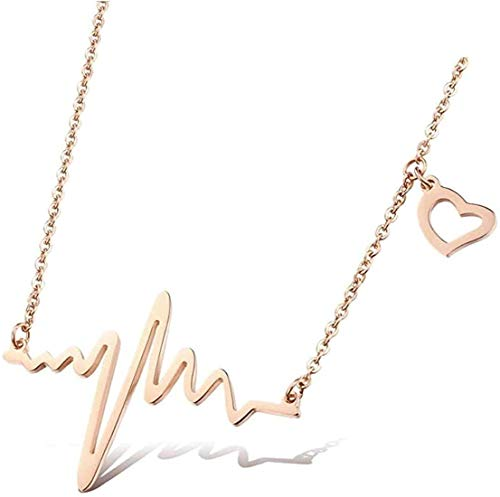 ARZONAI Design Fancy Stylish Heartbeat Stainless Steel Necklace Pendant Chain for Women and Girls (Golden)