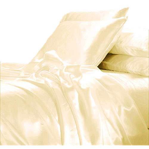 LINENWALAS Bamboo Sheets Queen Size |Christmas 100% Organic Softest Moisture Wicking Deep Pocket Bedding | Silk Like Soft,Light Cooling Luxury Resort Bed Sheet Set (Queen Size, Ivory) Bed Silk Bed Pillow